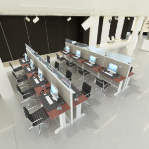 U Shape Call Center Glass Workstations