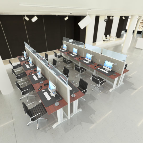 U Shape Call Center Glass Workstations